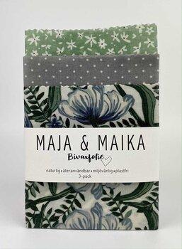 Grön blomma- bivaxfolie 3-pack
