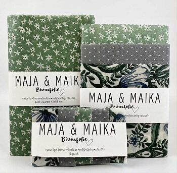 Grön blomma- bivaxfolie storpack