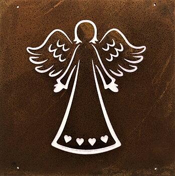 Rostfärgad skylt Ängel