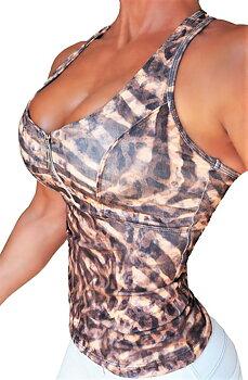 RAW By Adriana Kuhl Zip Tanktop Leopard