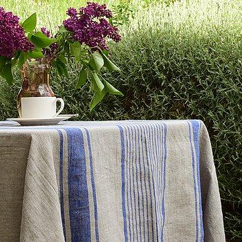 Linen tablecloth - village blue - washed
