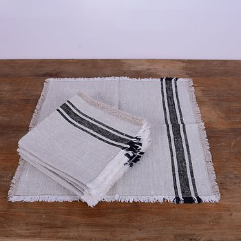black natur striped - fringed -Linen napkin / placemat