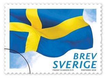 Frimärke Svenska flaggan