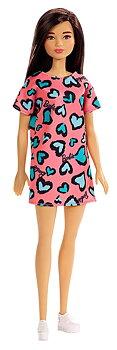 Barbie docka Brunett med Rosa klänning och Blå hjärtan