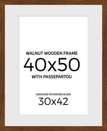 Walnut wooden frame 40x50 cm with passepartou
