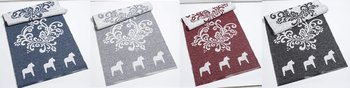Kurbits carpet with Dala horses 70x150 cm - Reversible vinyl mat