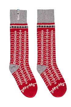 Stickade knäsockar, Ekshärad, röd  storlek 38-41