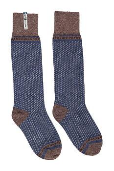 Stickade knäsockar, Skaftö, marin,  storlek 38-41