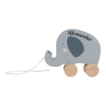 Pull toy Elephant with name