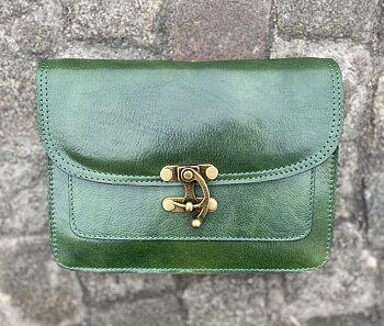 Italiensk skinnväska med mässingknäppning, 25x18x7 cm, grön