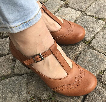 Brako sko modell Minthy i ljusbrunt,  40-tal  stil, vintage, Mary Jane