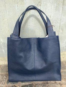 Stor Italiensk skinnväska 40x36x10, mörkblå