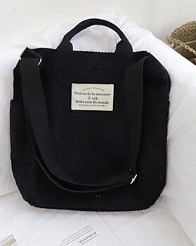 Grovribbad manchesterväska  i retrostil, svart