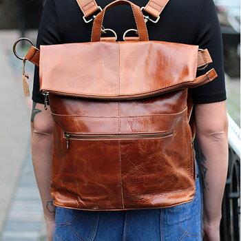 Belgian ryggsäck/ väska i skinn  från Odi Lynch, tan