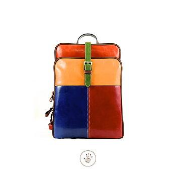 Multicolor ryggsäck från  Tornabouni i naturgarvat skinn, 35x10x28, Tulua