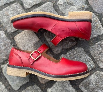 Rosa Negra Mary Jane sko, röd