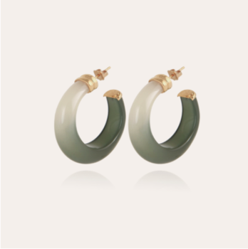 Abalone hoop earrings acetate gold - Green