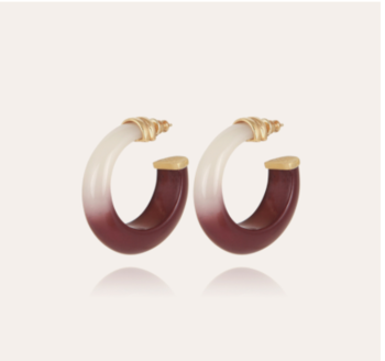 Abalone hoop earrings acetate gold - Purple