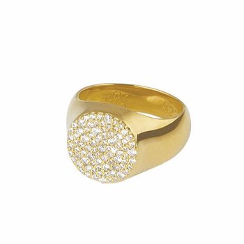 Multi Stones Signet Ring Gold