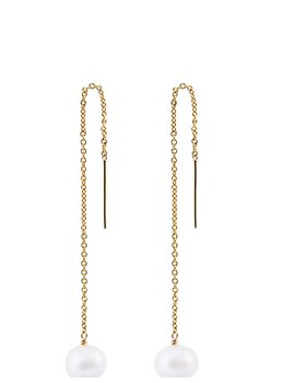 SINGLE PEARL CHAIN EARRING Guld