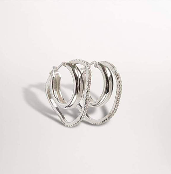 Distorted Double Hoop Earrings Silver