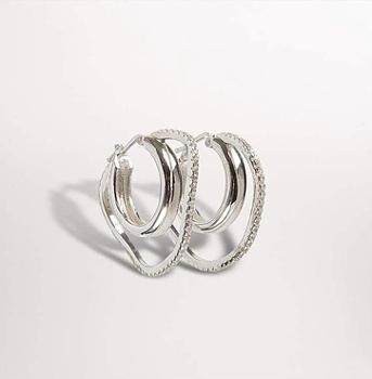 Distorted Double Hoop Earrings Silver