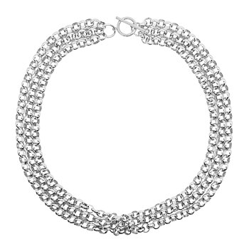 Triplett link Chain Necklace WHITE gold