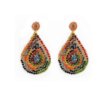 Multicolored Hand Crochet Tear Drop Earrings