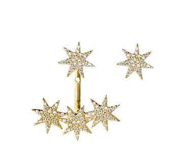 Five Star Earring Gold White