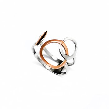 Ring Connected, rosegold & Steel