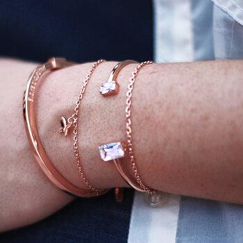 """Stelt armband med text """"älskad syster"""", rosé"""