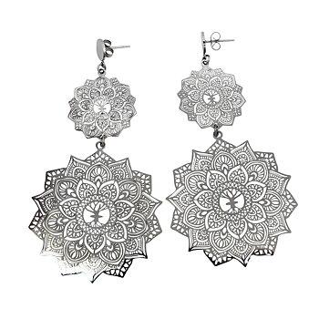 Mandala örhängen Double, stål  | Yggdrasil