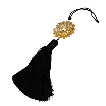Smyckesdetalj Mandala maxi guld, svart silkestofs | Yggdrasil