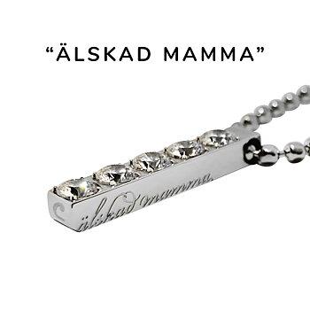 """Strasshalsband m. text """"älskad mamma"""", stål"""