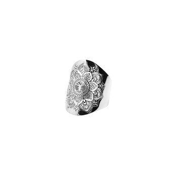Mandala Adjustable Ring, Steel