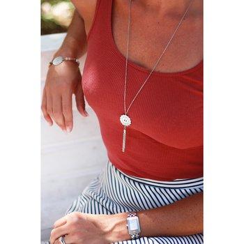 Mandala halsband mini tassel lång, stål | Yggdrasil