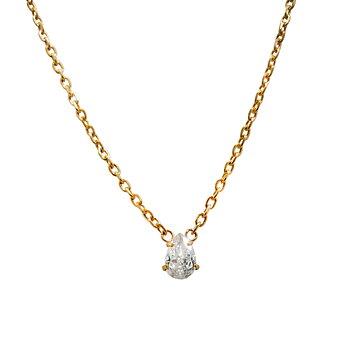 Nätt strasshalsband m. päronformad CZ sten, guld