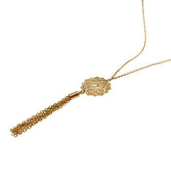 Mandala halsband mini tassel lång, guld | Yggdrasil