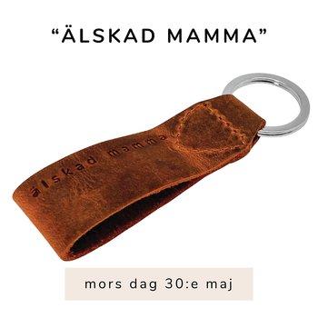 """Exklusiv nyckelring med text """"älskad mamma"""", läder"""
