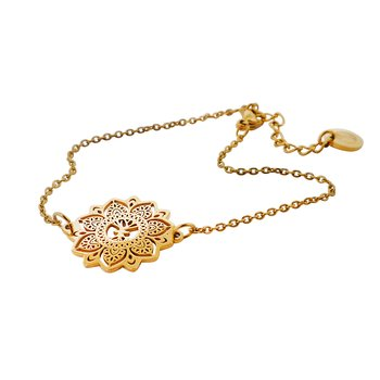 Mandala anklet mini, Gold