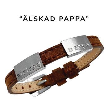 """Brunt läderarmband med gravyr """"älskad pappa"""", 8mm, 16-21,5cm"""
