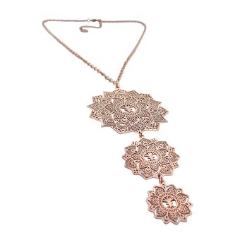 Mandala Necklace Tripple, Rose Gold