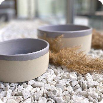 Swaggin Tails Keramikskål Käka Sandbeige Fjädergrå, flera storlekar