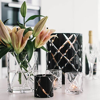 HURRICANE CRYSTAL LAMP SMALL, Ljuslykta Black