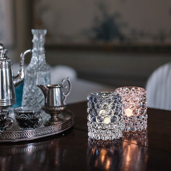HURRICANE LAMP BOULE, Misty blue