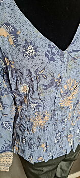 CRJohui Blus EV Saraza Flower Blue CREAM