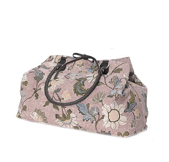 WEEKEND BAG DUSTY PINK FLOWER LINEN CEANNIS