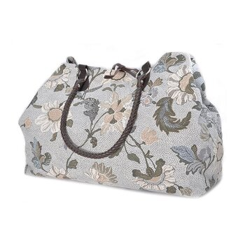 WEEKEND BAG WHITW FLOWER LINEN CEANNIS