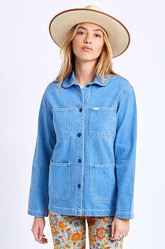 Brixton Women Karen Round Collar Chore Coat 70s Blue