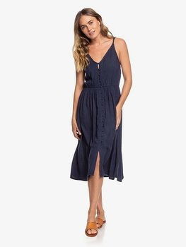 Roxy Sunset Beauty Strappy Buttoned Midi Dress Mood Indigo